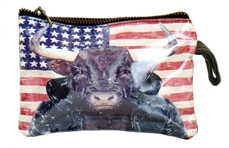 Steer Portrait/US Flag Coin Purse