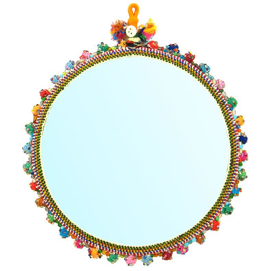 Two-sided Round Mirrors with Threadwork Border