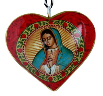 Virgin of Guadalupe Heart Ornament