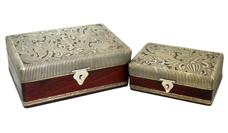 Wood/Metal Box Set of 2