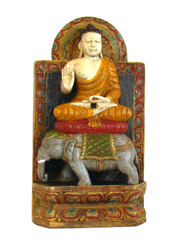 Sitting Wood  Buddha On Elephant