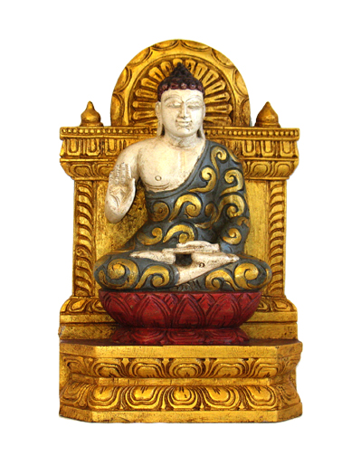 Sitting Wood  Buddha On Gold Throne