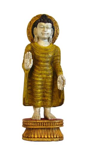 Standing Wood  Buddha