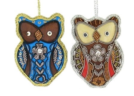 "4"" Zari Owl ornament"