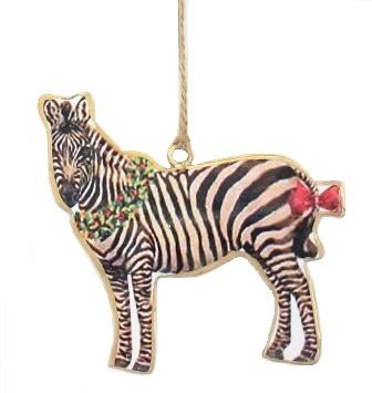 Zebra Wearing Wreath Ornament