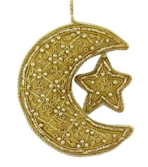 "3.5"" Embroidered Moon/Star Ornament"