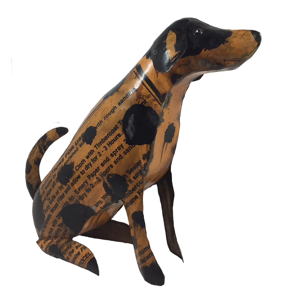 Recycled metal yellow dog