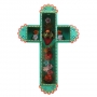 Painted Sacred Heart & Roses Cross