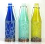 Etched Recycled Glass Bottle Lanterns